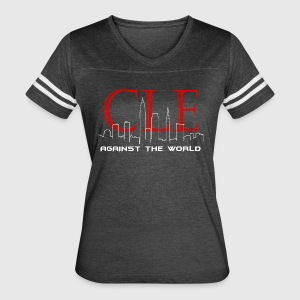 Cleveland Against the World Cityscape - Women's Vintage Sport T-Shirt