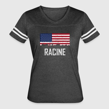 Racine Wisconsin Skyline American Flag Distressed - Women's Vintage Sport T-Shirt