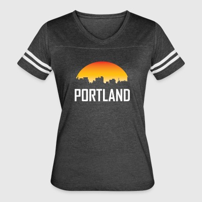 Portland Maine Sunset Skyline - Women's Vintage Sport T-Shirt