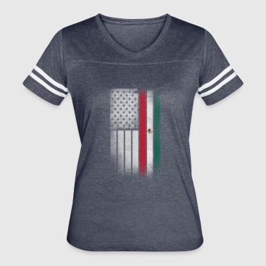 Mexican American Flag - Half Mexican Half American - Women's Vintage Sport T-Shirt