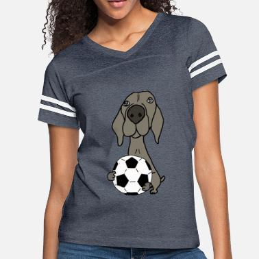 Cool Funky Weimaraner Dog Playing Soccer - Women's Vintage Sport T-Shirt