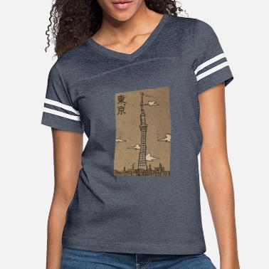 Kanji Tokyo Skytree Traditional-like Design - Women's Vintage Sport T-Shirt