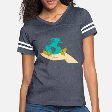 Eco Funny logo Earth Day cartoon picture vector image - Women's Vintage Sport T-Shirt