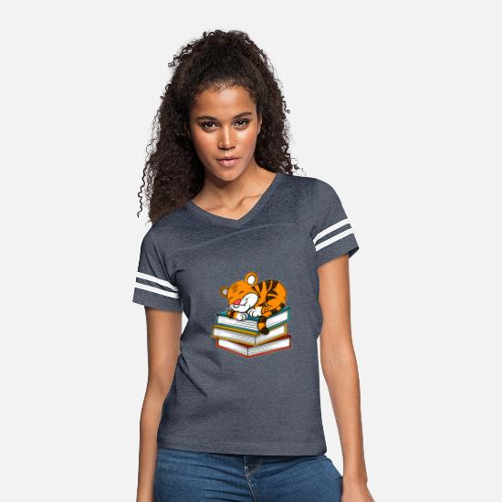 Safari T-Shirts - Cute Sleeping Lion On Books Christmas Kids Gift - Women's Vintage Sport T-Shirt vintage navy/white