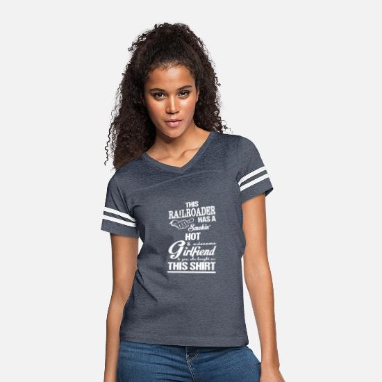 Girlfriend T-Shirts - Railroader Has A Smokin' Hot & Girlfriend T Shirt - Women's Vintage Sport T-Shirt vintage navy/white