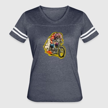 Skull riding a classic motorcycle - Women's Vintage Sport T-Shirt