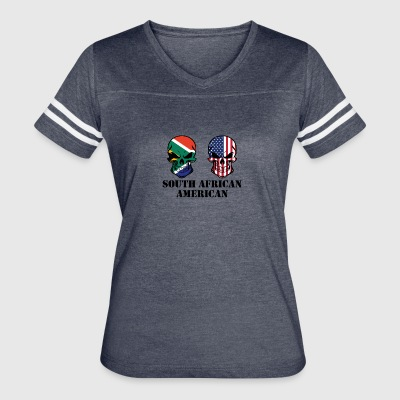 South African American Flag Skulls - Women's Vintage Sport T-Shirt