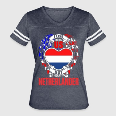 I Live In The Us But My Heart Is In Netherlander - Women's Vintage Sport T-Shirt