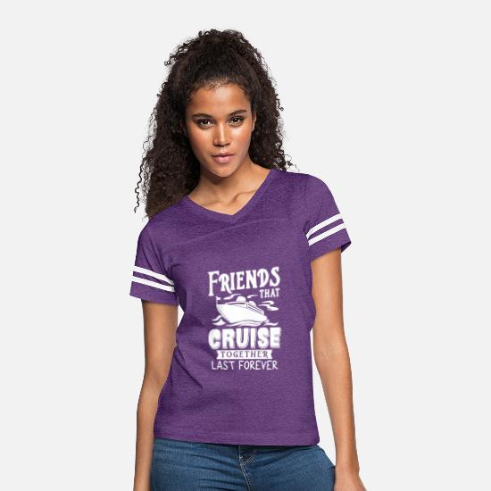 Cruise T-Shirts - Friends That Cruise Together Last Forever T Shirt - Women's Vintage Sport T-Shirt vintage purple/white
