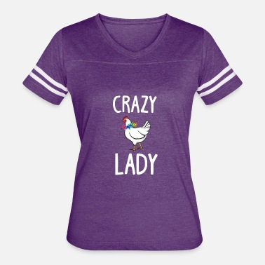 Ladybird Crazy Chicken Lady Flowers Shirt Funny Farm Poultr - Women's Vintage Sport T-Shirt