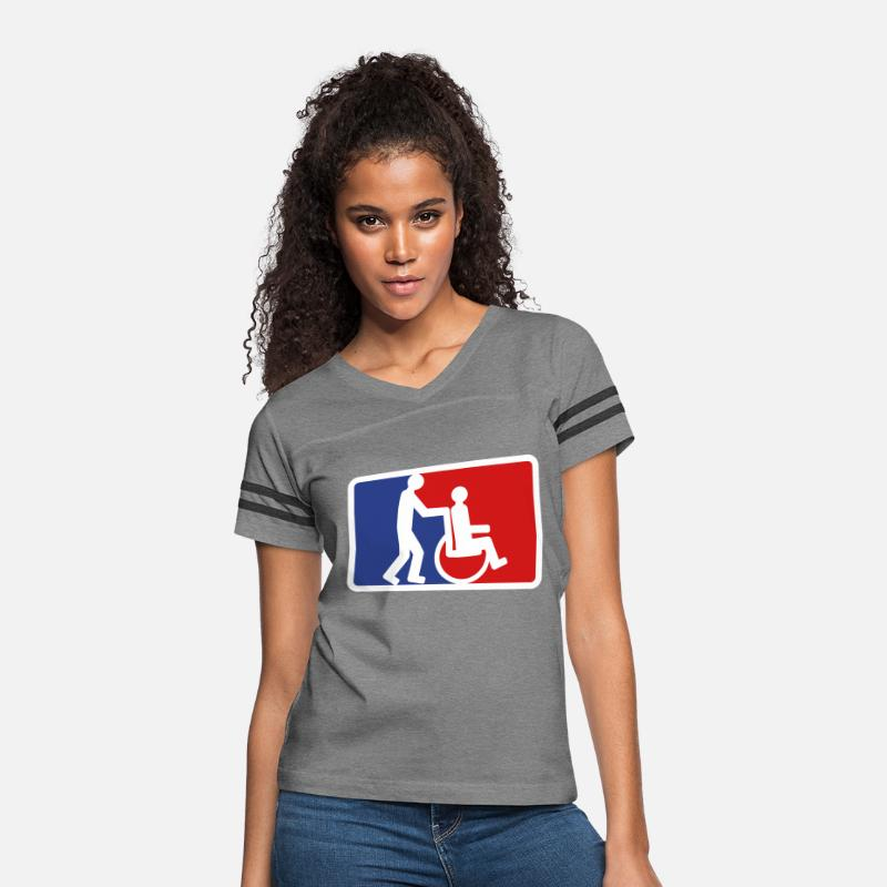 wheelchair red blue shield 2 friends team couple p Women's Vintage Sport  T-Shirt - heather gray/charcoal