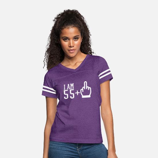 Finger T-Shirts - 56th Birthday Party Celebration - Women's Vintage Sport T-Shirt vintage purple/white