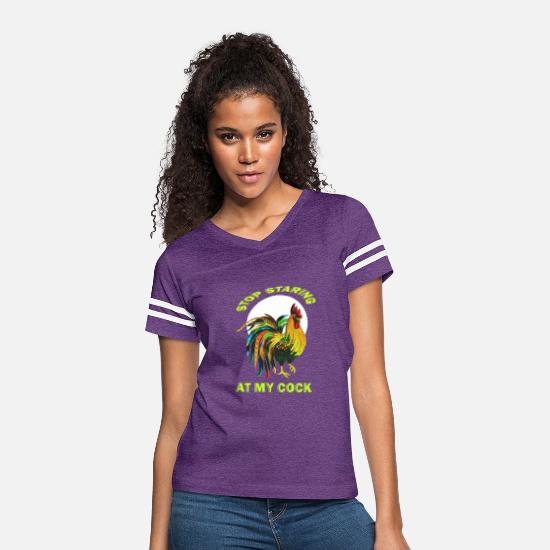 Stop T-Shirts - Stop Staring At My Cock - Women's Vintage Sport T-Shirt vintage purple/white