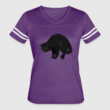 Black Cat Stretching - Women's Vintage Sport T-Shirt