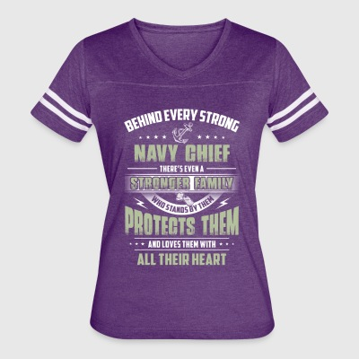 Behind Every Strong Navy Chief - Women's Vintage Sport T-Shirt