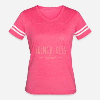 Sexy French Girl French Kiss - Sexy Girly Naughty Designs - Women's Vintage Sport T-Shirt