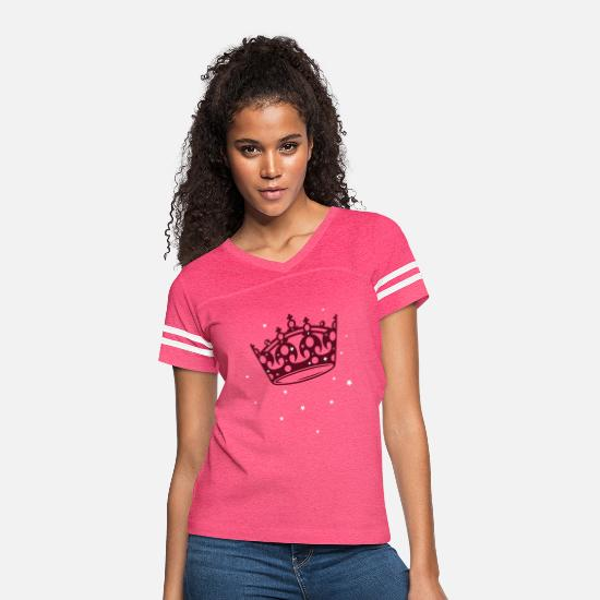 Crown T-Shirts - Princess, Queen Crown with stars. - Women's Vintage Sport T-Shirt vintage pink/white