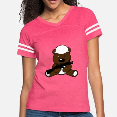 Logo war soldier helmet weapon machine gun bear cute cu - Women's Vintage Sport T-Shirt