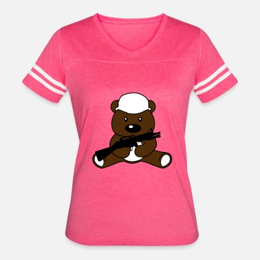 Bears War war soldier helmet weapon machine gun bear cute cu - Women's Vintage Sport T-Shirt