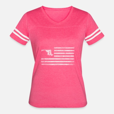 Maryland State Silhouette Maryland State United States Flag Vintage USA - Women's Vintage Sport T-Shirt