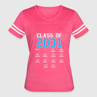 Kids Graduation Class of 2031 Graduation Kids with Handprints - Women's Vintage Sport T-Shirt
