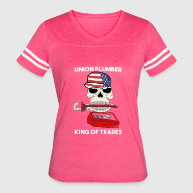 Skull And Pipe Wrenches UNION PLUMBER USA GIFT SKULL FUNNY DAD WRENCH PIPE - Women's Vintage Sport T-Shirt