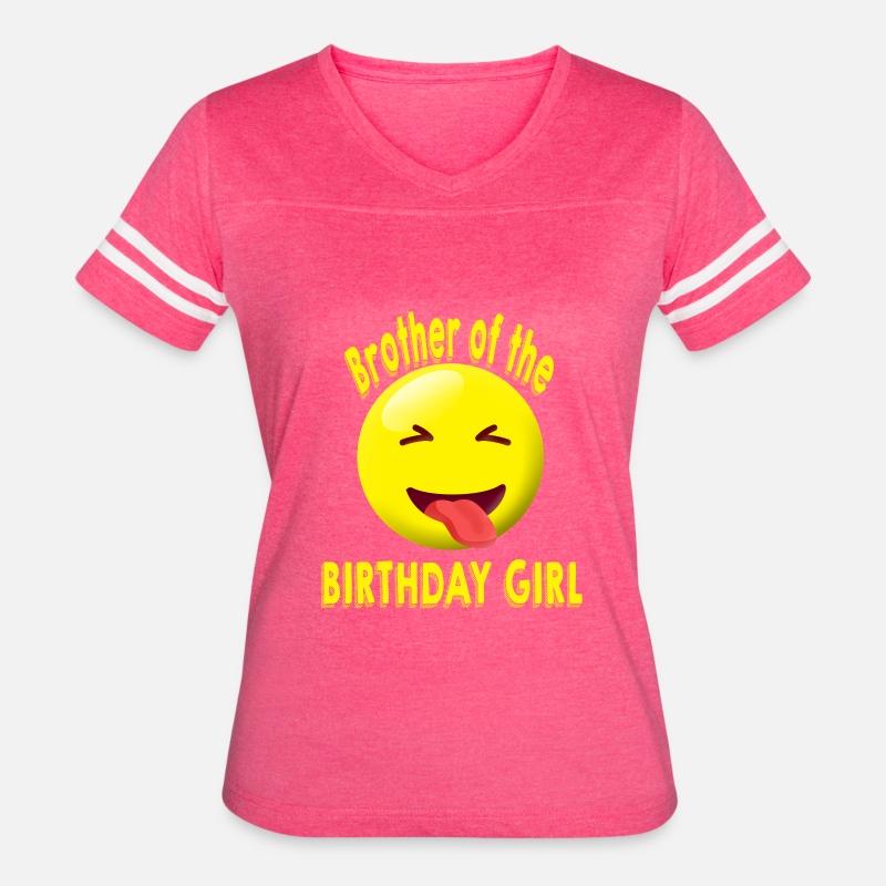 Brother Of The Birthday Girl Emoji Shirt Womens Vintage Sport T