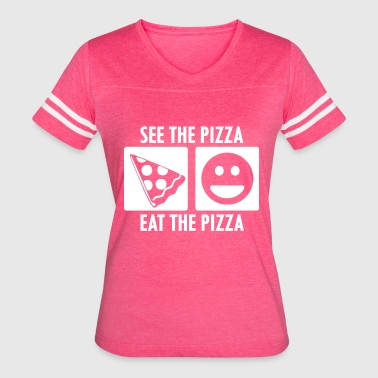 Pepperoni Quotes See the Pizza Eat the Pizza in White - Women's Vintage Sport T-Shirt