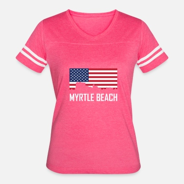Myrtle Beach South Carolina Skyline American Flag Women S Vintage Sport T Shirt