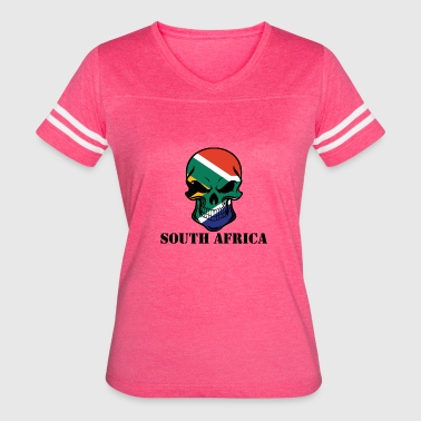 South African Flag Skull South Africa - Women's Vintage Sport T-Shirt