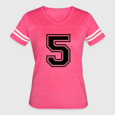 Font Football Number 5 College Style Font - Women's Vintage Sport T-Shirt