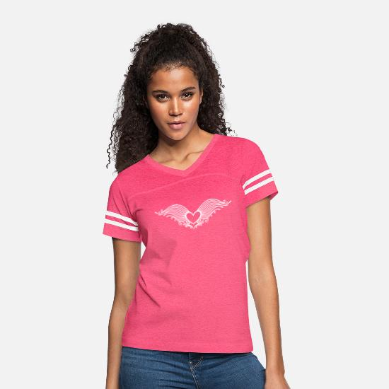 Wings T-Shirts - Filigree heart with wings. Winged heart. - Women's Vintage Sport T-Shirt vintage pink/white