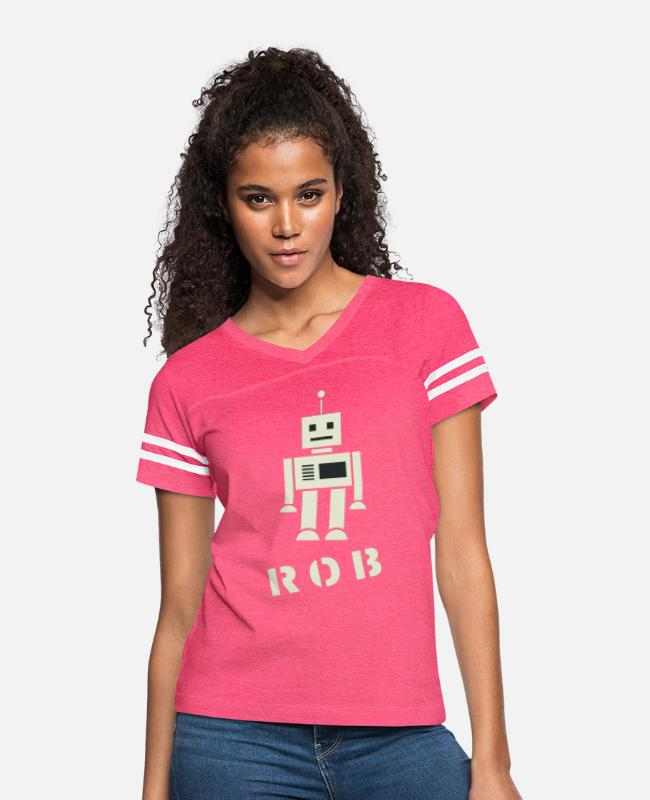 "Robot Rob T-Shirts - ""Ramseys Robby The Robot"" - Women's Vintage Sport T-Shirt vintage pink/white"
