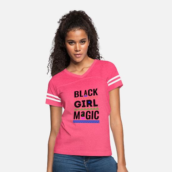 Pride T-Shirts - Melanin Girl Magic Black Pride Womens - Women's Vintage Sport T-Shirt vintage pink/white