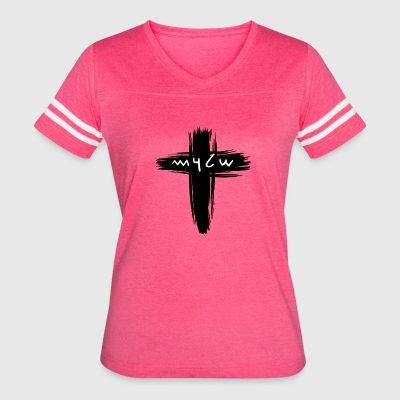 Shalom Ancient Hebrew Text with a Cross - Women's Vintage Sport T-Shirt