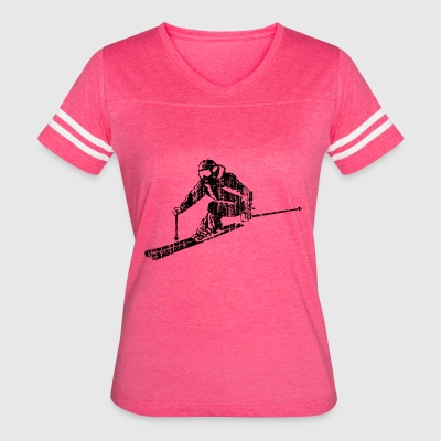 Skiers on the ski slopes in a sporty and fast way - Women's Vintage Sport T-Shirt