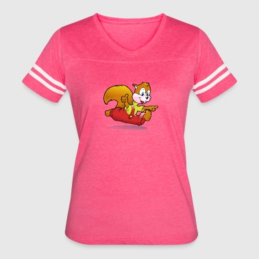 Squirrel Cartoon - Women's Vintage Sport T-Shirt