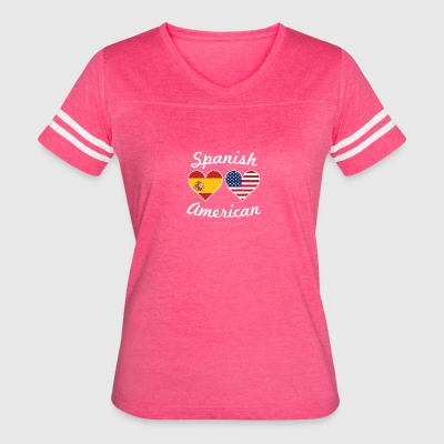 Spanish American Flag Hearts - Women's Vintage Sport T-Shirt