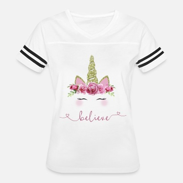 Glitter Magic Magical Unicorn Watercolor Flowers and Glitter - Women's Vintage Sport T-Shirt