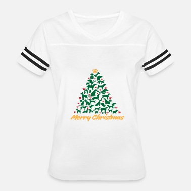 Tree Merry Christmas Tree Dogs T shirt - Women's Vintage Sport T-Shirt