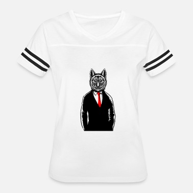 Wolf Wearing Tux T-Shirt Funny Canine Wolves Vest - Women's Vintage Sport T-Shirt