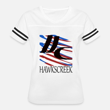 Red White Blue Stripe HAWKSCREEK STRIPeS blue black red white. - Women's Vintage Sport T-Shirt