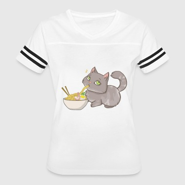 Cat snatches ramen - noodle love - Women's Vintage Sport T-Shirt