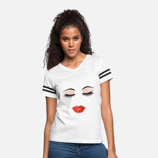 Mouth T-Shirts - Funny Makeup - Eyebrows Eyes Lips Mouth - Humor - Women's Vintage Sport T-Shirt white/black