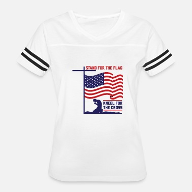 Registry Office Stand up for the flag kneel for the cross USA army - Women's Vintage Sport T-Shirt