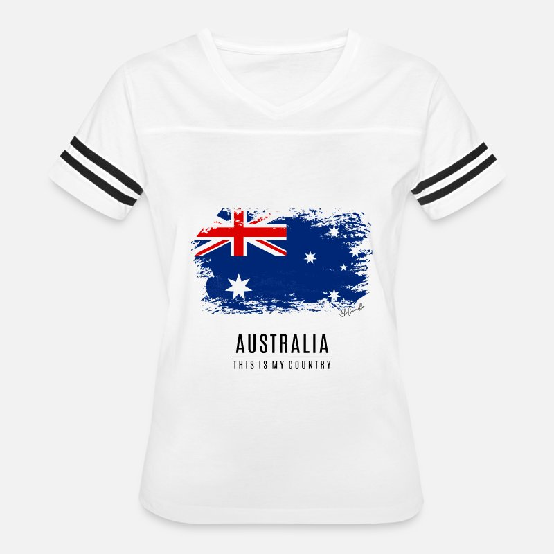 Australia T-Shirts - AUSTRALIA - THIS IS MY COUNTRY - Women's Vintage Sport T-Shirt white/black