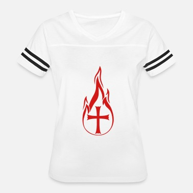 Hot Symbols & Shapes hot fire flames burning church symbol cross jesus - Women's Vintage Sport T-Shirt