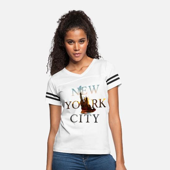 Statue T-Shirts - New York, New York City, NYC, Lady Liberty, Statue - Women's Vintage Sport T-Shirt white/black