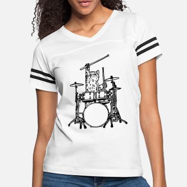 3dd4f186 Play Drums In My Head My Cat Always Play Drums T Shirt Funny - Women&#