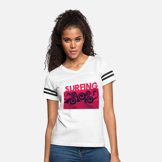 Surfing T-Shirts - Red Surfing - Women's Vintage Sport T-Shirt white/black